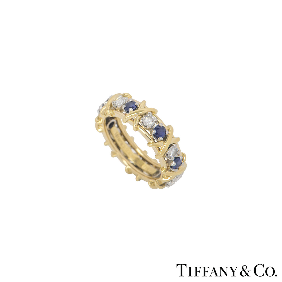 Tiffany & Co. Diamond And Sapphire Schlumberger Ring